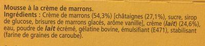 Mousse à la crème de marron Maronsui's - Ingrediënten