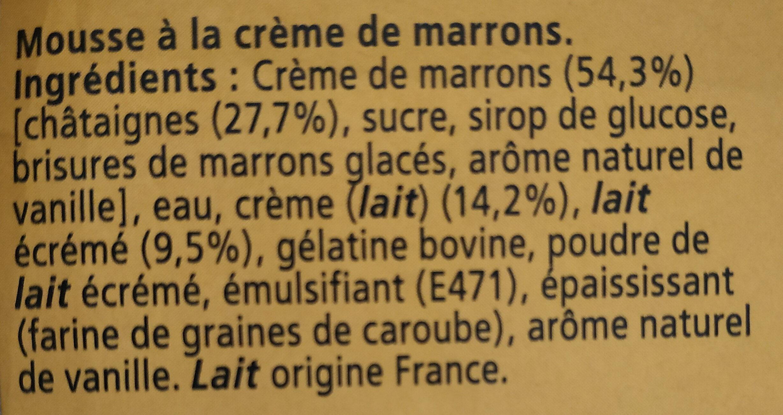 Mousse à la crème de marron Maronsui's - Ingrédients