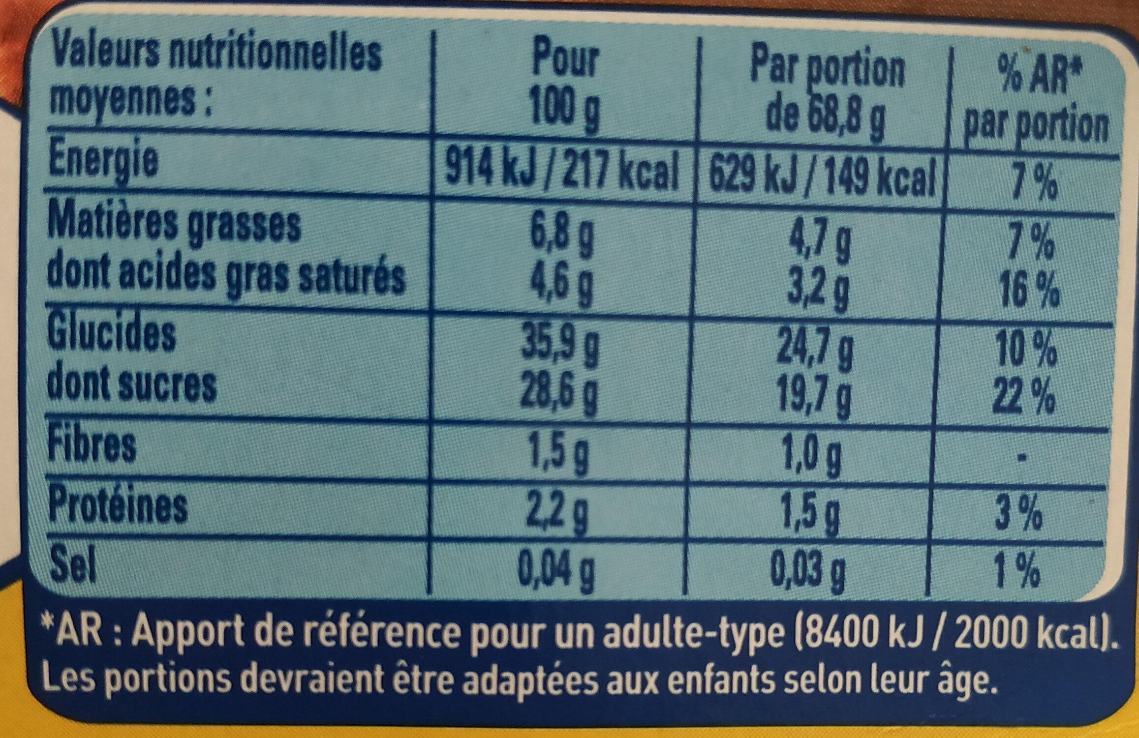 Mousse à la crème de marron Maronsui's - Informations nutritionnelles