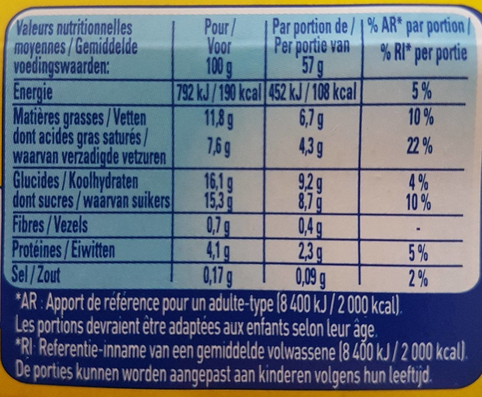 Feuilleté de Mousse Poire - Nutrition facts