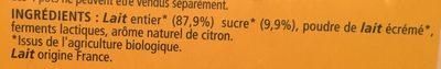 Le yaourt citron bio - Ingredients