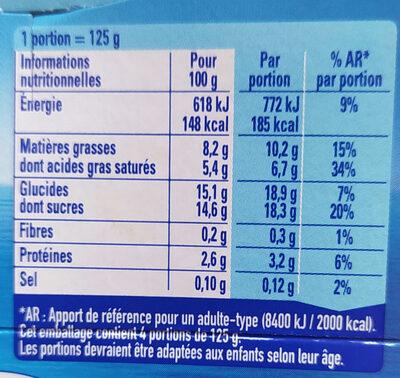 Yaos Le Yaourt à la Grecque stracciatella 500 g - Nutrition facts - fr