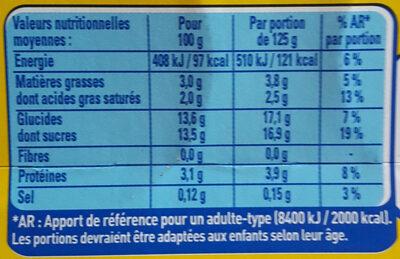 Le yaourt à la vanille - Nutrition facts - fr
