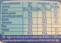 yaos vanille - Informations nutritionnelles