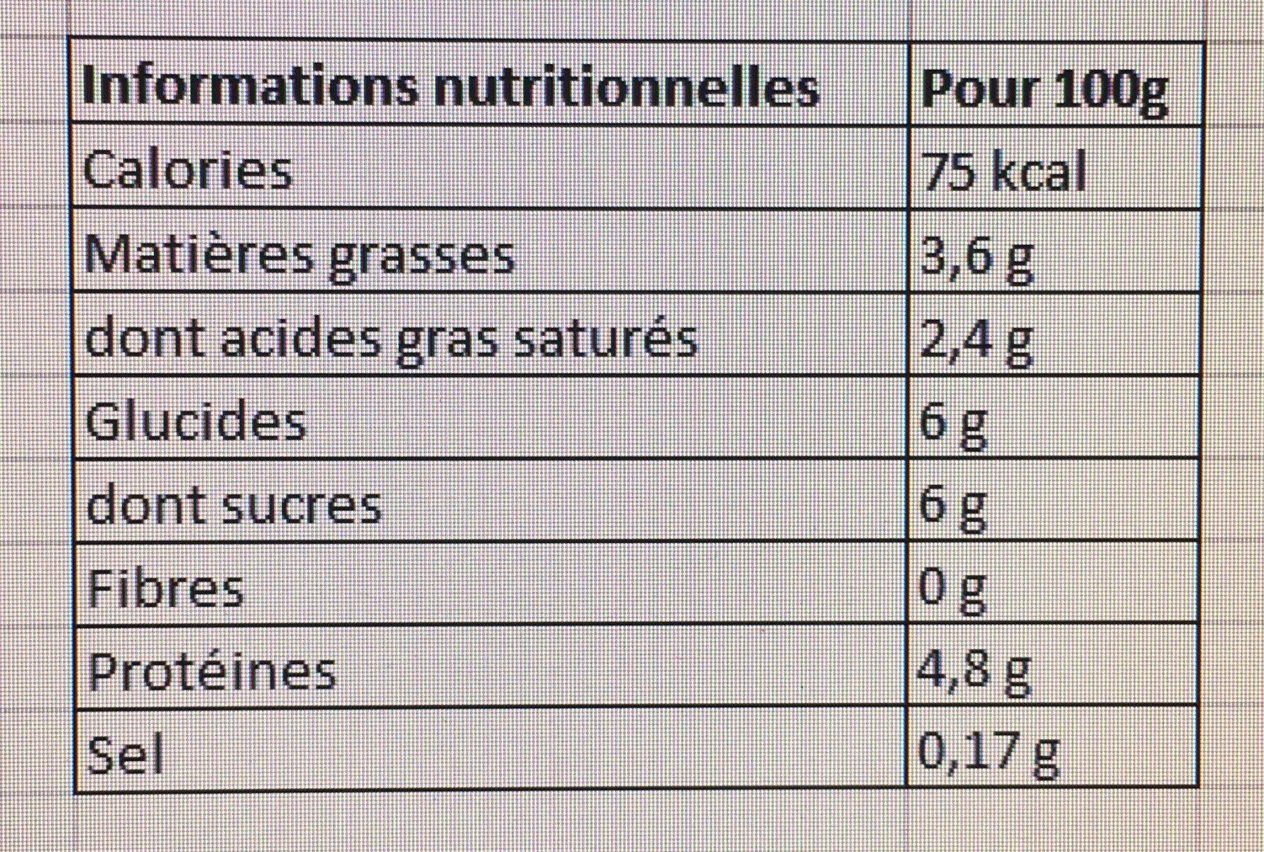 Douceur de yaourt nature - Nutrition facts