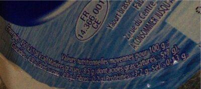 Yaos yaourt a la grecque bio - Valori nutrizionali - fr