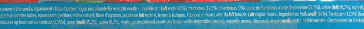 Yaourt à la Grecque sur lit de framboises - Ingrédients - fr