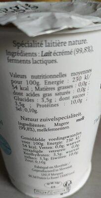 Skyr Nature - Informations nutritionnelles