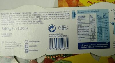 Tartaleta de manzana - Nutrition facts - es