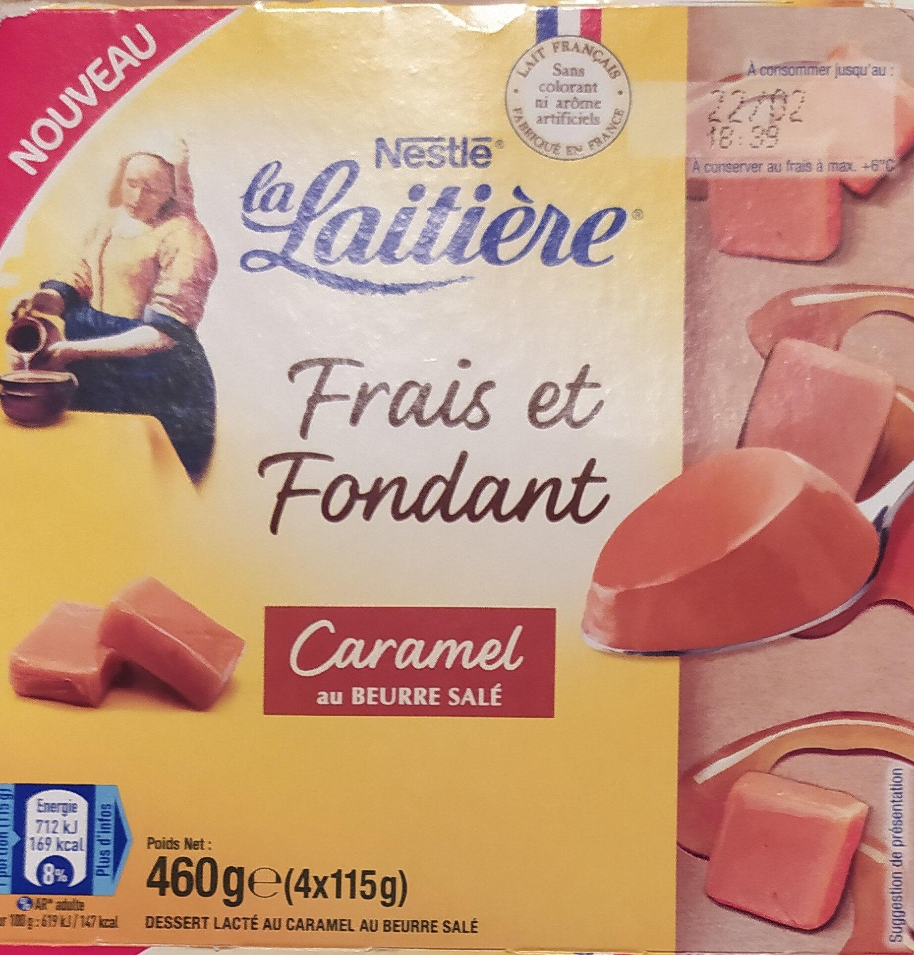 La Laitière Frais et Fondant Caramel au beurre salé 4 x 115 g - Produit - fr