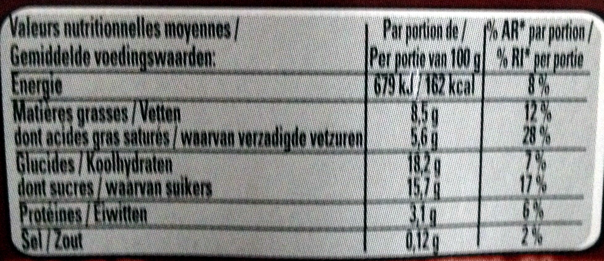 Le Viennois Chocolat (Offre Eco) - Nutrition facts