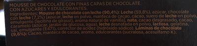 Mousse de chocolate con finas y crujientes láminas de cacao - Ingredients - es