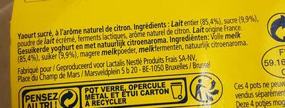 Le yaourt au citron - Ingredients - fr