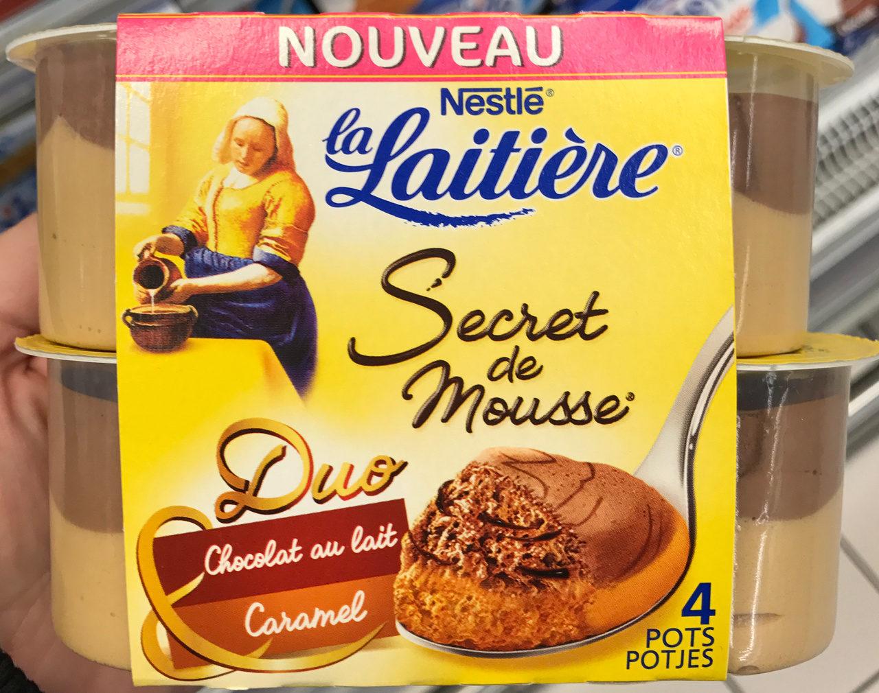 la laiti re secret de mousse duo chocolat au lait caramel nestl. Black Bedroom Furniture Sets. Home Design Ideas