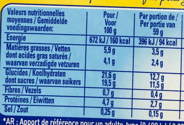 La Laitière Secret de Mousse Duo Chocolat au Lait Caramel - Nutrition facts