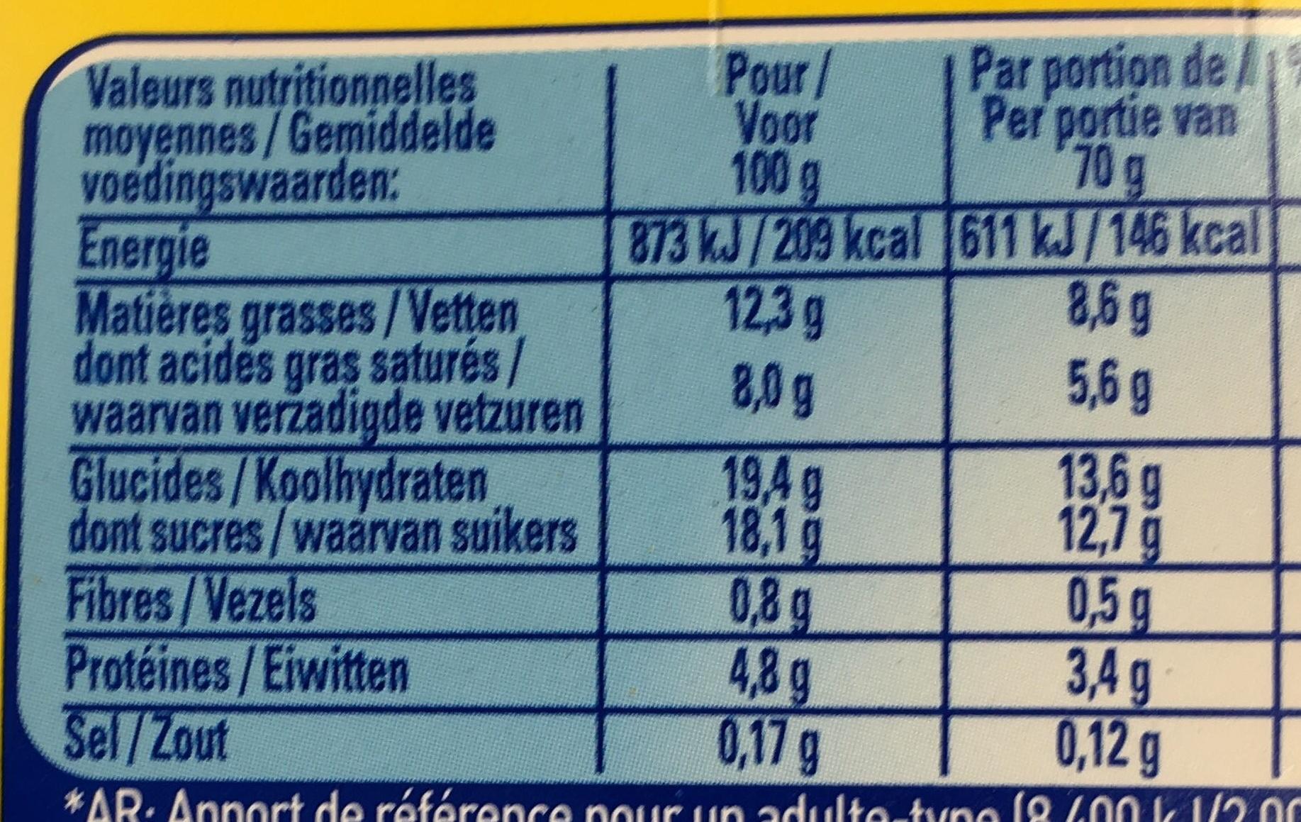 La Laitière Velours de Crème saveur Chocolat Noisette - Informations nutritionnelles - fr