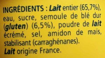 Desserts semoule au lait nature La Laitière - Ingrédients - fr