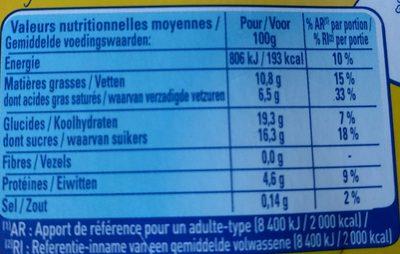 Le Petit Pot de Crème Saveur Vanille - Voedingswaarden