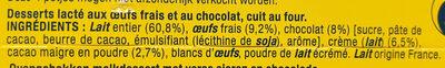 La Laitière le Petit Pot de Crème au Chocolat - Ingrediënten - fr