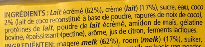 Neige de lait, Noix de Coco (4 Pots) - Ingrédients
