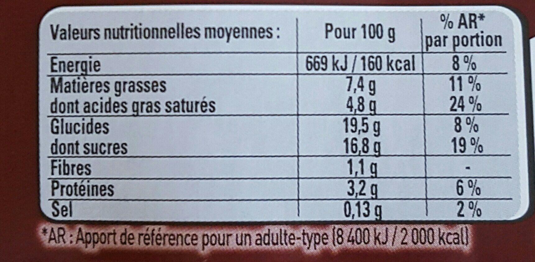 Le viennois Le fouetté Chocolat - Voedingswaarden - fr