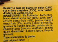 L'Ile Flottante aux éclats de caramel - Ingredients