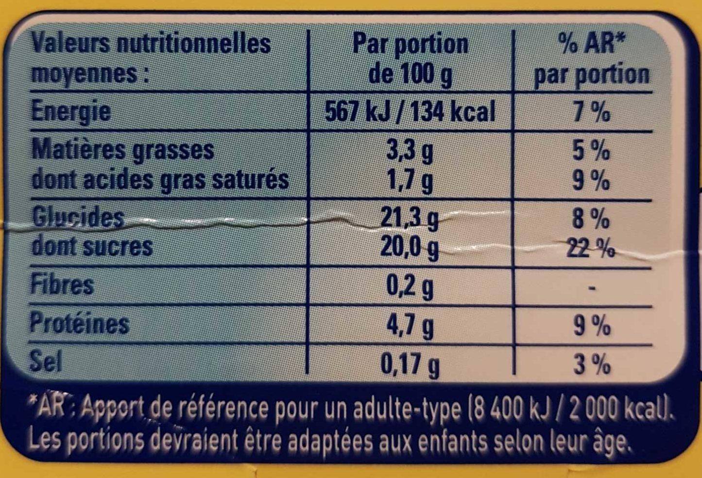 L'Ile Flottante aux éclats de caramel - Informations nutritionnelles - fr