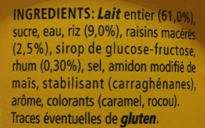 Riz au lait Rhum Raisins - Ingredients