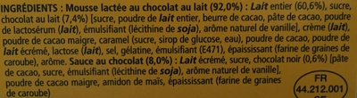 Secret de Mousse Chocolat au lait (4 Pots) Offre Eco - Ingredients