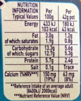 Munch Bunch Fromage Frais Original - Nutrition facts