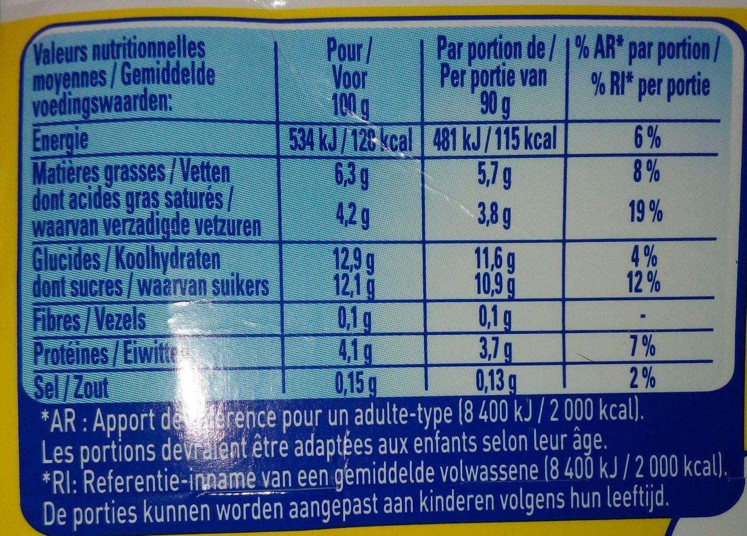 La Laitière Neige de Lait Vanille - Voedingswaarden