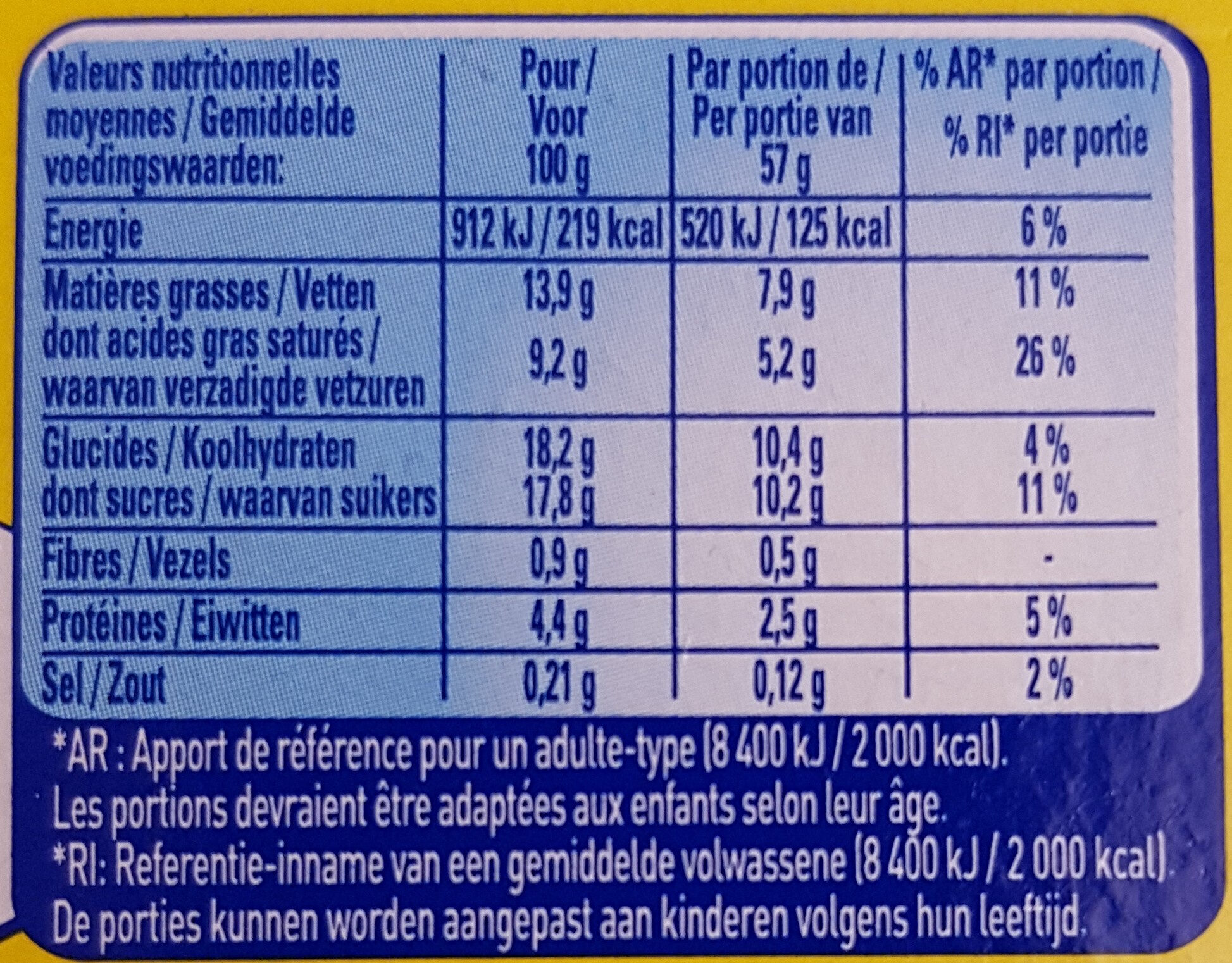 Feuilleté de Mousse Vanille - Informations nutritionnelles - fr