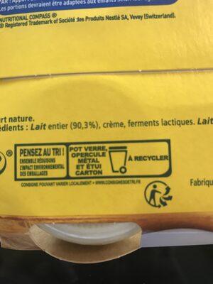 La Laitière yaourt au lait entier nature - Istruzioni per il riciclaggio e/o informazioni sull'imballaggio - fr