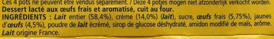 Petit pot de crème saveur vanille - Ingrédients