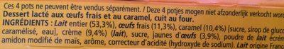Le Petit Pot de Crème au Caramel - Ingrédients - fr