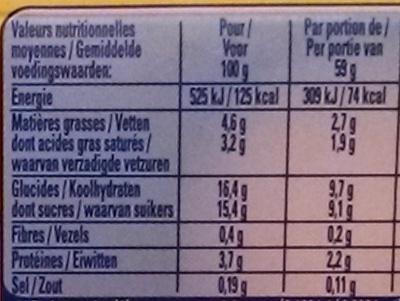 Secret de Mousse Framboise Sauce Mûre (4 Pots) - Nutrition facts - fr