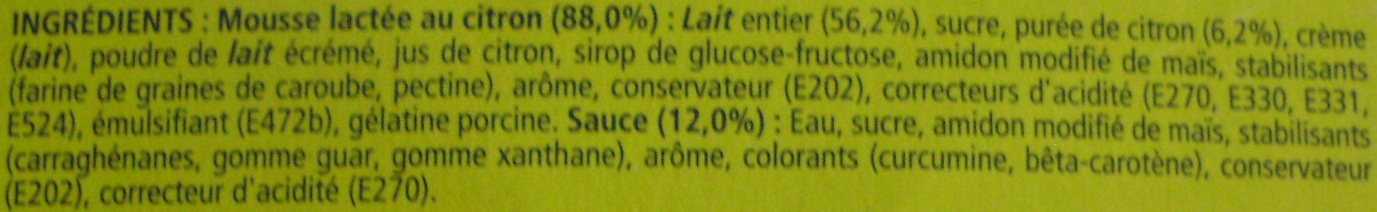Secret de Mousse Citron - Ingredients - fr
