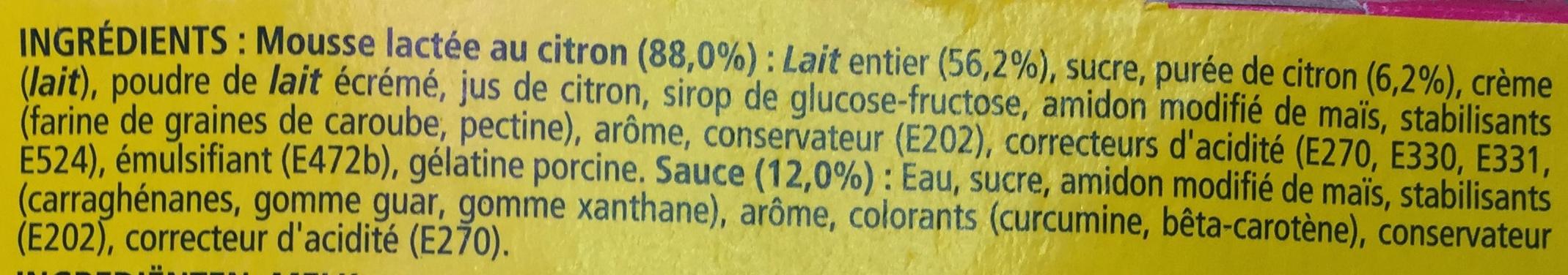 Secret de Mousse Citron (4 Pots) Offre Eco - Ingredients - fr
