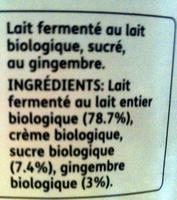 Rachel's - le brassé biologique gingembre - Ingredients - fr
