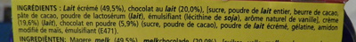 Velours de Crème (Chocolat au lait) 4 Pots - Ingrédients - fr