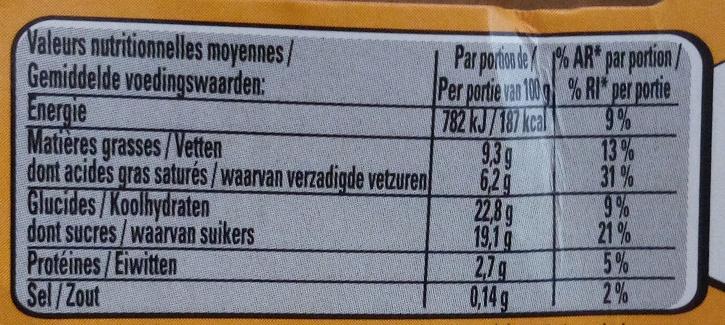 Le Viennois saveur Vanille sur Lit de Caramel - Nutrition facts