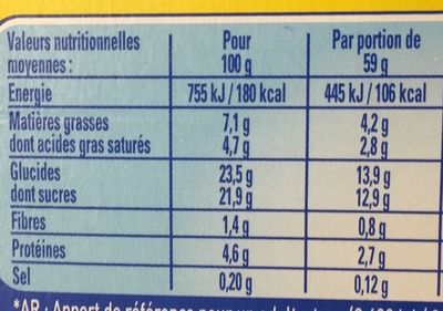 La Laitière Secret de Mousse Chocolat au Lait (format familial) - Nutrition facts