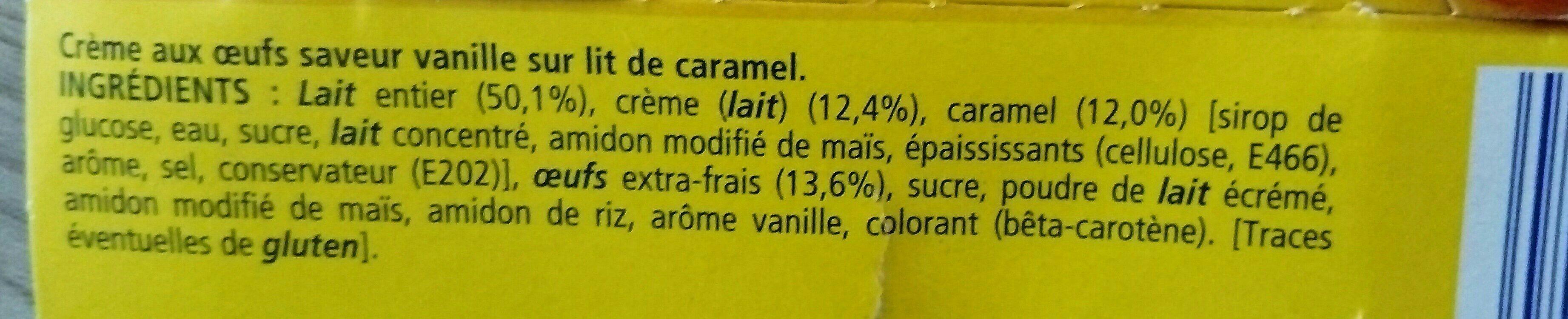 Crème aux Oeufs sur lit de Caramel (4 pots) 400 g - La Laitière - Ingredients