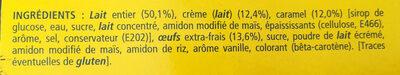 Crème aux oeufs sur lit de caramel - Ingredients