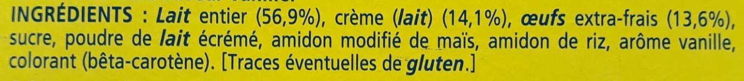 La Laitière Crème Aux Oeufs Vanille 4 x (400g) - Ingredients