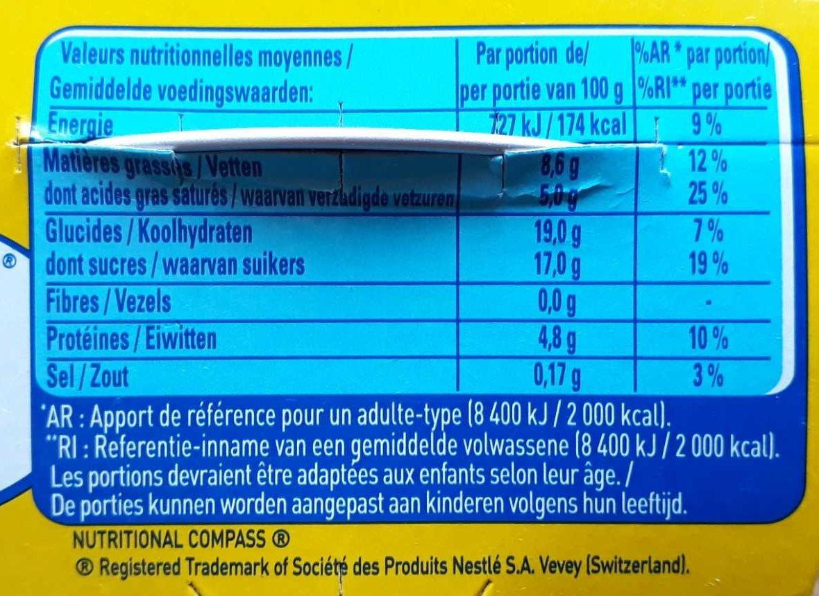 La Laitière Crème Aux Oeufs Vanille 4 x (400g) - Nutrition facts
