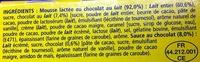 Secret de Mousse Chocolat au Lait (4 Pots) - Ingredients - fr