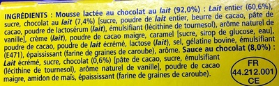 Secret de Mousse Chocolat au Lait (4 Pots) - Ingredients