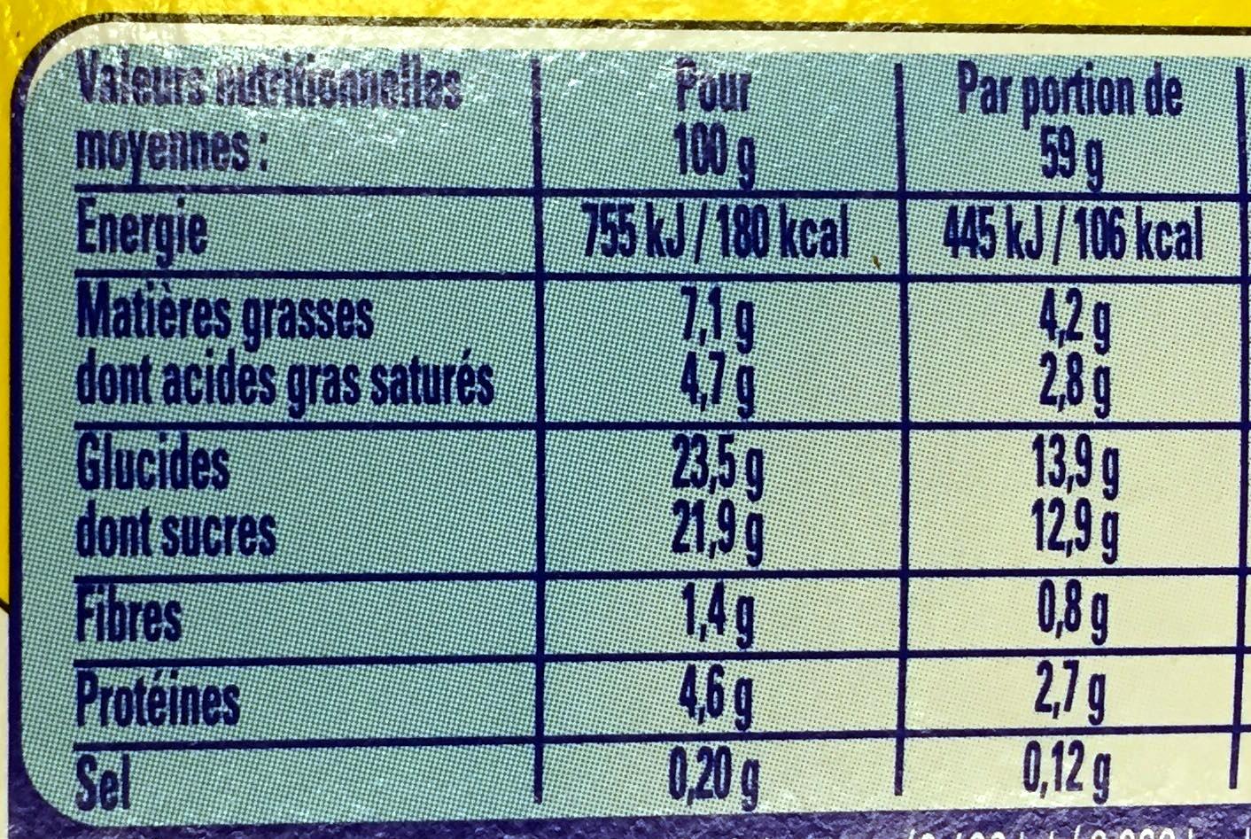 Secret de Mousse Chocolat au Lait (4 Pots) - Nutrition facts - fr