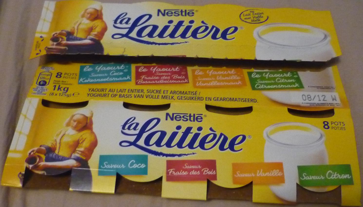Yaourt au lait entier sucr et aromatis saveurs coco for Chambre 13 vanille et citron